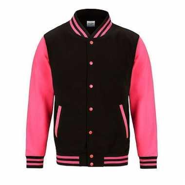 Varsity jacket zwart/fluorroze voor heren