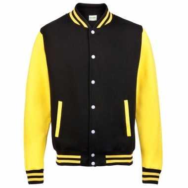 Varsity jacket zwart/geel voor heren
