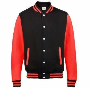 Varsity jacket zwart/rood voor dames