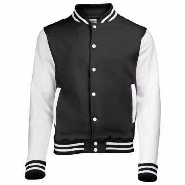 Varsity jacket zwart/wit voor heren