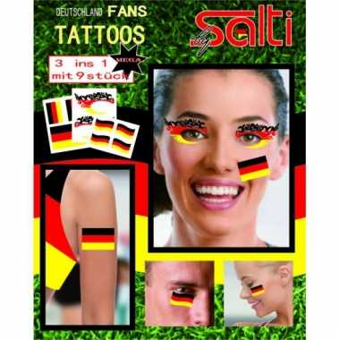 Velletje met duitsland tattoos 9 stuks