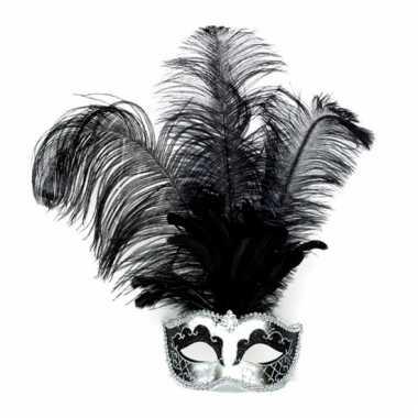 Venetiaans oogmasker zilver met zwarte veren