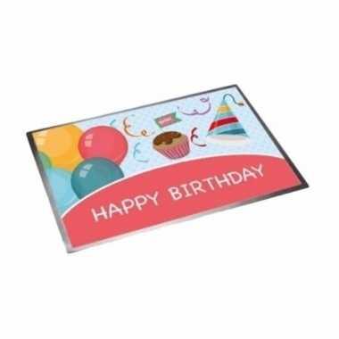 Verjaardagsfeest deurmat 40 x 60 cm happy birthday