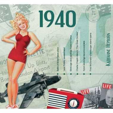 Verjaardagskaart met geboorte jaar 1940