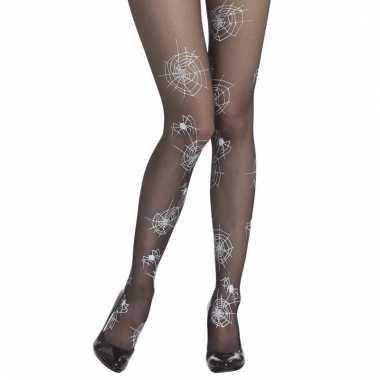 Verkleed heksen damespanty met spinnenwebben zwart/wit