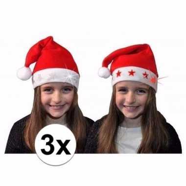 Verkleed kerstmuts met rode sterretjes voor kinderen 3 st