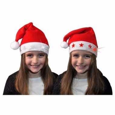 Verkleed kerstmuts met witte sterretjes voor kinderen