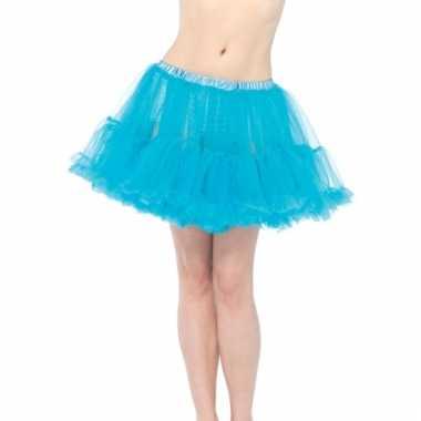 Verkleed korte petticoat turquoise voor dames