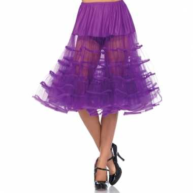 Verkleed lange petticoat fel paars voor dames