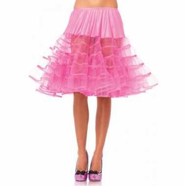 Verkleed lange petticoat fel roze voor dames
