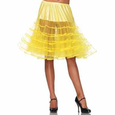 Verkleed lange petticoat geel voor dames
