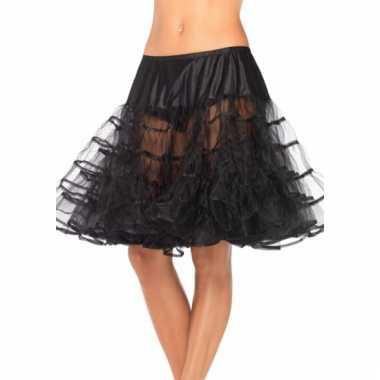 Verkleed lange petticoat zwart voor dames
