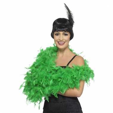 Verkleed luxe veren boa groen 180 cm