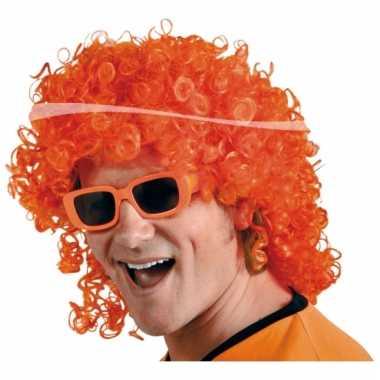 Verkleed pruik oranje