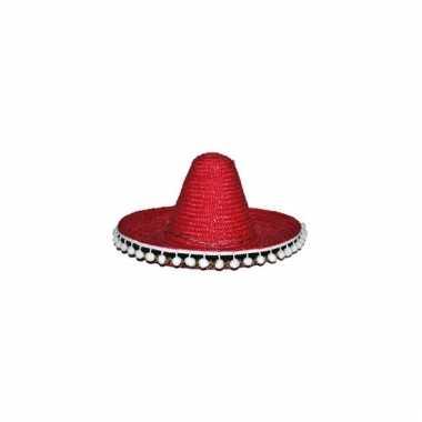 Verkleed sombrero rood 60 cm mexico voor volwassenen