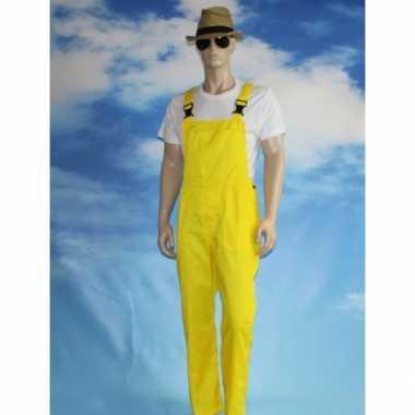 Verkleed tuinbroek geel voor volwassenen