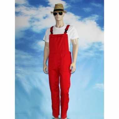 Verkleed tuinbroek rood voor volwassenen