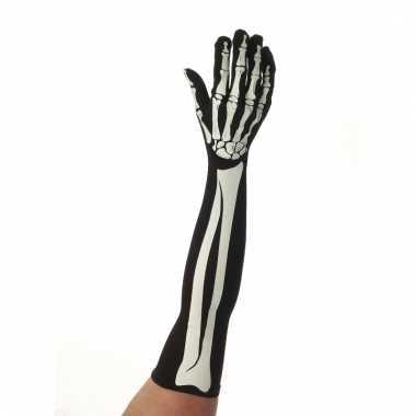 Verkleedaccessoire skelet handschoenen lang