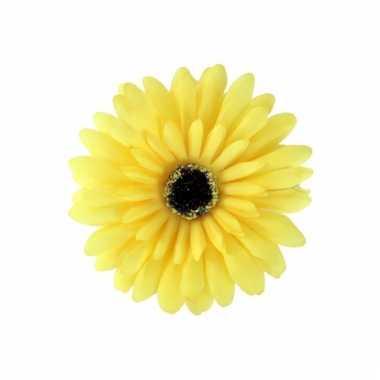 Verkleedaccessoires haarbloem geel