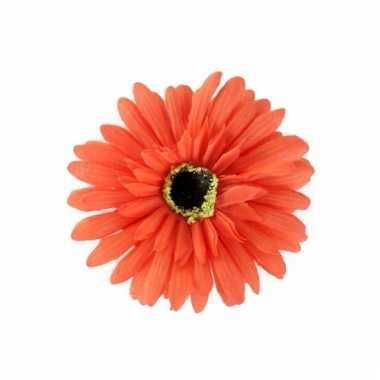 Verkleedaccessoires haarbloem oranje