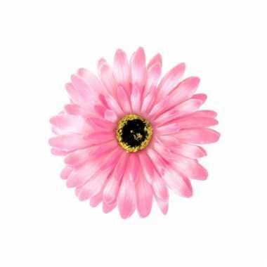 Verkleedaccessoires haarbloem roze