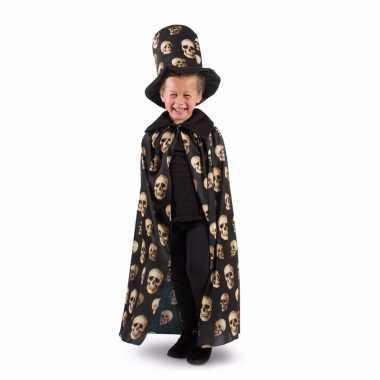 Verkleedcape jongens halloween met doodskop en hoed