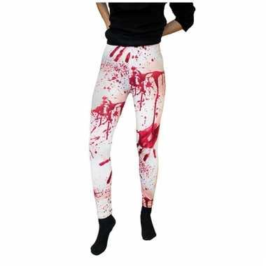Verkleedkleding zuster legging wit met bloed