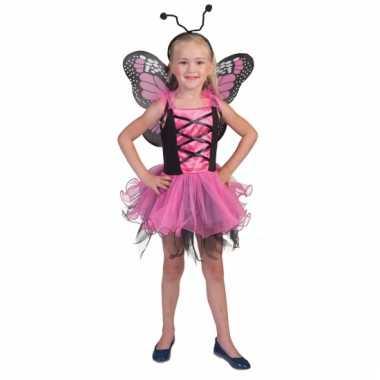 Verkleedset roze vlinder voor meiden