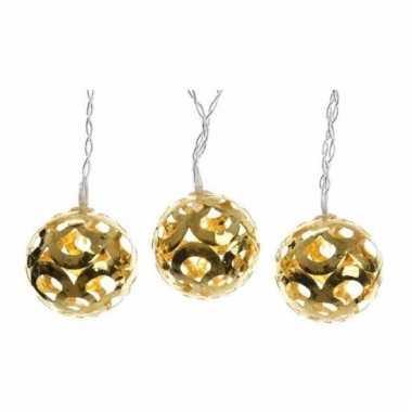 Verlichte led snoer met gouden ballen 180 cm
