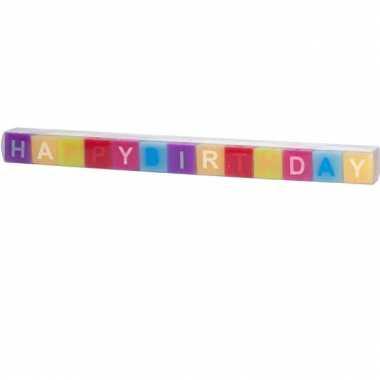 Vierkante happy birthday kaarsjes