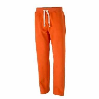 Vintage joggingbroeken oranje met zakken voor heren