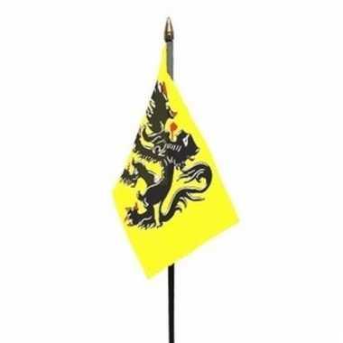 Vlaanderen luxe zwaaivlaggetje polyester