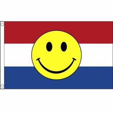 Vlag nederland met smiley 90 x 150 cm