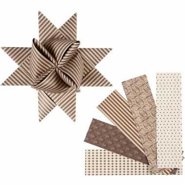 Vlechtstroken van papier bruin/beige 40 stuks