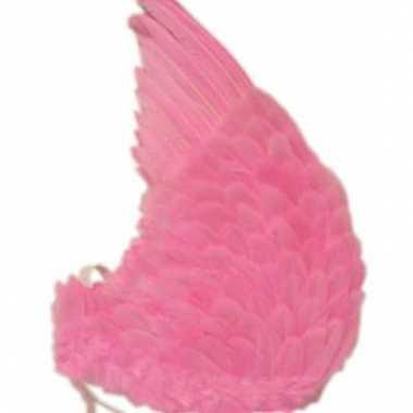Vleugels met roze veren 60x75 cm
