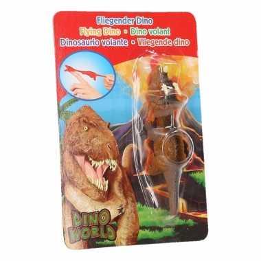 Vliegende dino speelgoed poppetje triceratops bruin