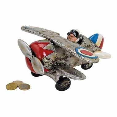 Vliegtuig spaarpot keramiek 22cm
