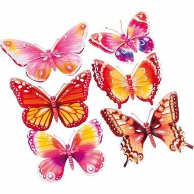 Vlinder stickers 3d roze/oranje 6 stuks
