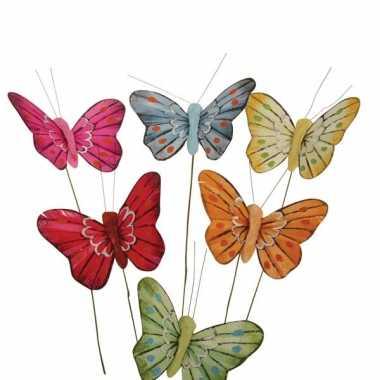 Vlinder versiering 6 stuks
