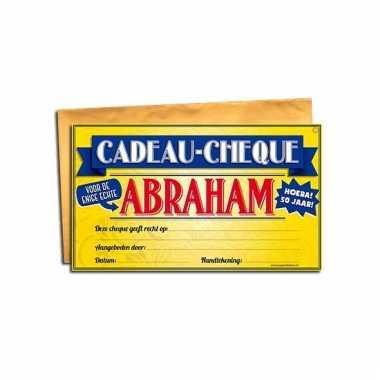 Voor de abraham kado cheque bedankje