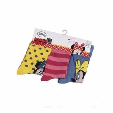 Voordeelpak 3 paar meisjes sokken disney minnie mouse