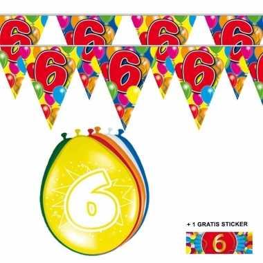 Voordeelverpakking 6 jaar met 2 slingers en ballonnen