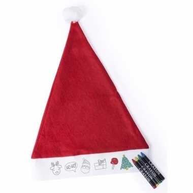 Voordelige inkleur kerstmuts voor kinderen