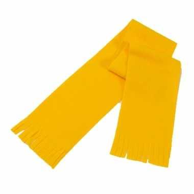Voordelige polar fleece sjaaltje geel voor kinderen