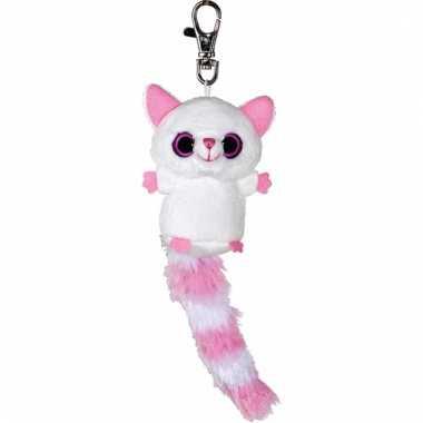 Vossen sleutelhanger wit/roze 7,5 cm