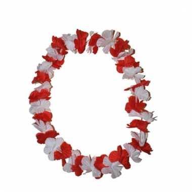 Vrolijke hawaii krans rood met wit