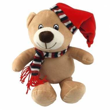 Zacht pluche beer knuffel kerst 26 cm