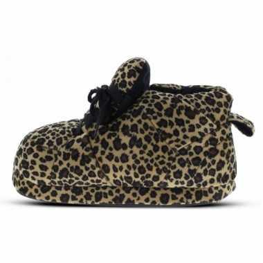 Zachte sloffen voor dames luipaard bruin