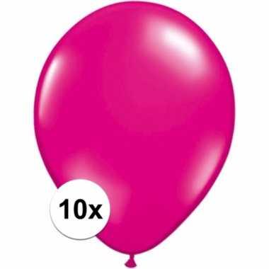 Zakje 10 magenta roze party ballonnen