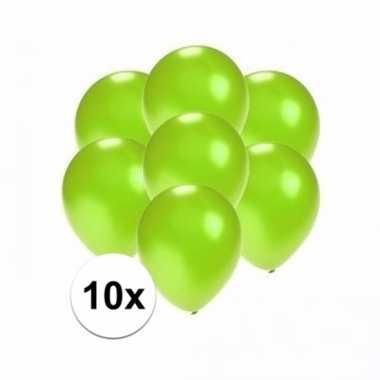Zakje 10 metallic groene party ballonnen klein